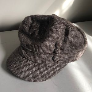 Brown and cream hat
